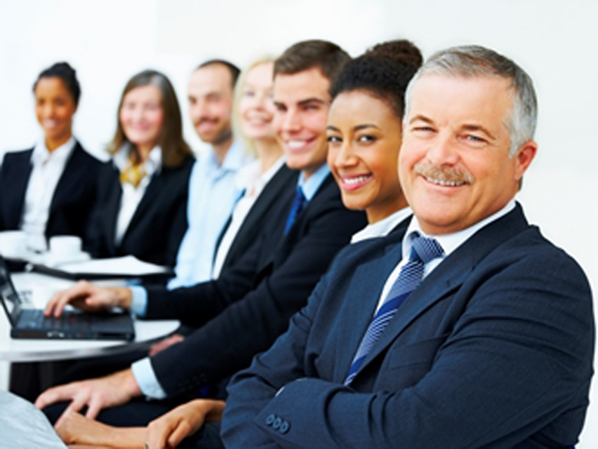 Business group portrait – Six business people working together.